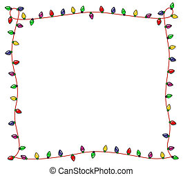 Festive Christmas Lights Frame - Colorful Christmas frame of...