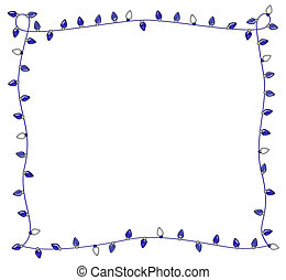 Blue Holiday Lights Frame - Frame of festive blue holiday...