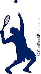 Tennis Player Serving Silhouette - Illustration of a tennis...
