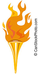 Torch - Illustration of torch set on isolated white...