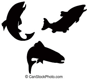 Trout Fish Silhouette Retro - Illustration of trout fish...