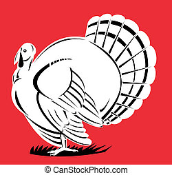 Turkey Retro - Illustration of a turkey viewed from the side...