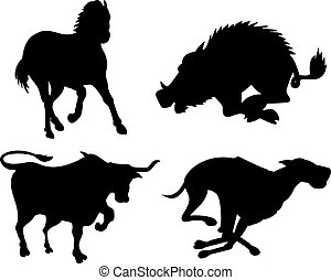 Wildlife Silhouettes - Illustration of wildlife animals...