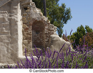ruin wall at San Juan Capistrano - a piece of the ruin wall...