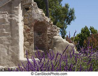 ruina, ściana, San, Huan, Capistrano
