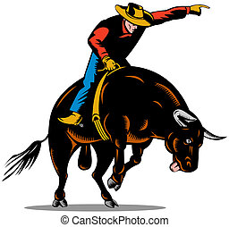Rodeo Cowboy Bull Riding Retro - Illustration of rodeo...