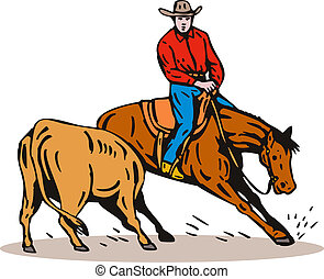 Rodeo Cowboy Horse Riding - Illustration of rodeo cowboy...