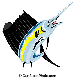 Sailfish Fish Jumping Retro - Illustration of a sailfish...