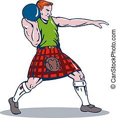 Scottish Playing Shotput - Illustration of Scottish man...