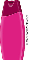 Shampoo Bottle - Illustration of pink shampoo bottle set on...