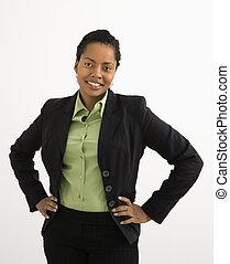 profesional, mujer, retrato