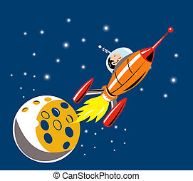 Spaceship Man Moon - Illustration of man on a spaceship with...