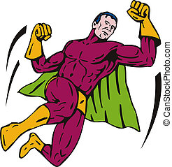 Super Hero Jumping Punching - Illustration of a cartoon...