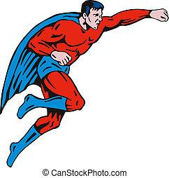 Super Hero Punching Retro - Illustration of a cartoon super...