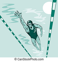 Swimmer Freestyle Retro - A swimmer doing freestyle viewed...