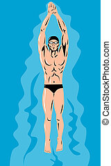 Swimmer Streamline Retro - A swimmer in streamline viewed...