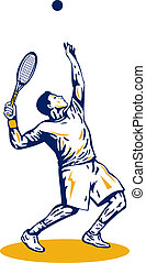 Tennis Player Serving - Illustration of a tennis player...