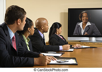 Business meeting. - Businesspeople sitting at conference...