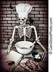 Skeleton Cooking - A Skeleton cooking up a frightful meal....