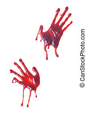 Bloody Hand Prints - Bloody hand prints on a white...