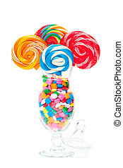 Whirly Pop Bouquet - Large swirled lollipops displayed in an...