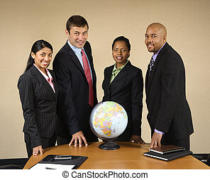 World business - Corporate businesspeople standing around...