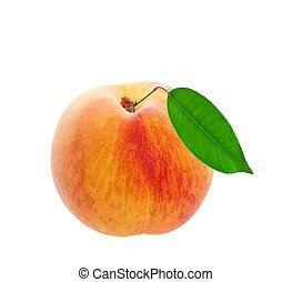 Fresh Peach - A freshly picked peach with leaf still...