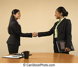 Business meeting - Two businesswomen in suits shaking hands...