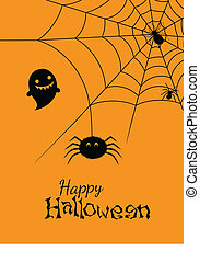 Vector illustration of spiders web - Happy halloween,...