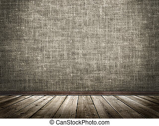 Cloth wall and wooden floor in a grunge style