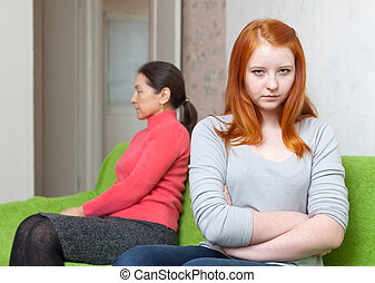 mother and teen daughter after quarrel - Mature mother and...