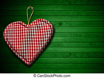 Cloth Heart on Green Wood Background - Handmade clothe heart...