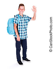 Saying Hello, showing high five - Happy student in blue,...