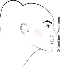 sketch, girl's, head, earring, fashion, illustration