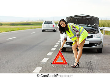 Placing Emergency Triangle