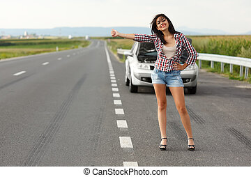 Woman driver hitch-hiking - Woman driver kindly hitch-hiking...