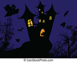 Halloween poster - Scary castle - Halloween poster design,...