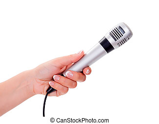 Woman holding microphone - Woman hand holding microphone -...