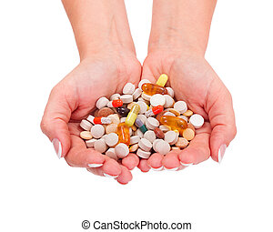 Various drugs - Hand holding lots of pharmaceuticals in hand
