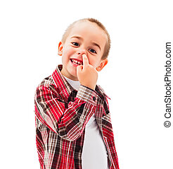 Kid picking Nose - Funny little boy enjoying picking his...