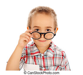 Smart Little Guy - Cute little boy looking over glasses...