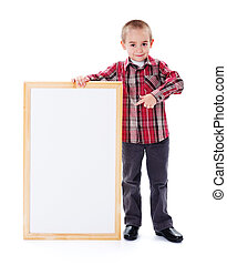 Ads Here - Cute little child pointing towards empty...