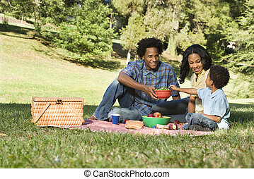 Picnic in park. - Smiling happy parents and son having...