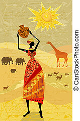 Africans on the vintage background for your design