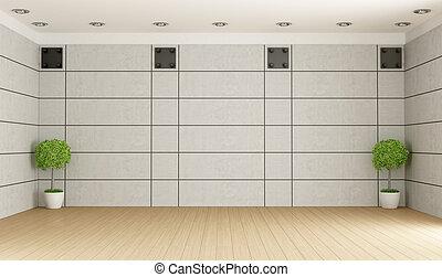Empty room with concrete panel