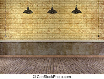 Empty grunge room with brick wall