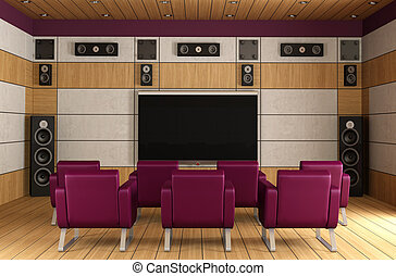 Luxury home theater room - Contemporary home theater room...
