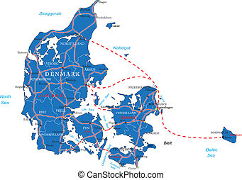 Denmark map - Highly detailed vector map of Denmark with...