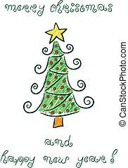 Doodle, boże narodzenie, drzewo