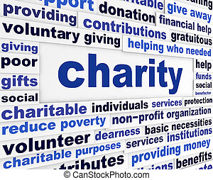 Charity social issue message. Voluntary giving creative...